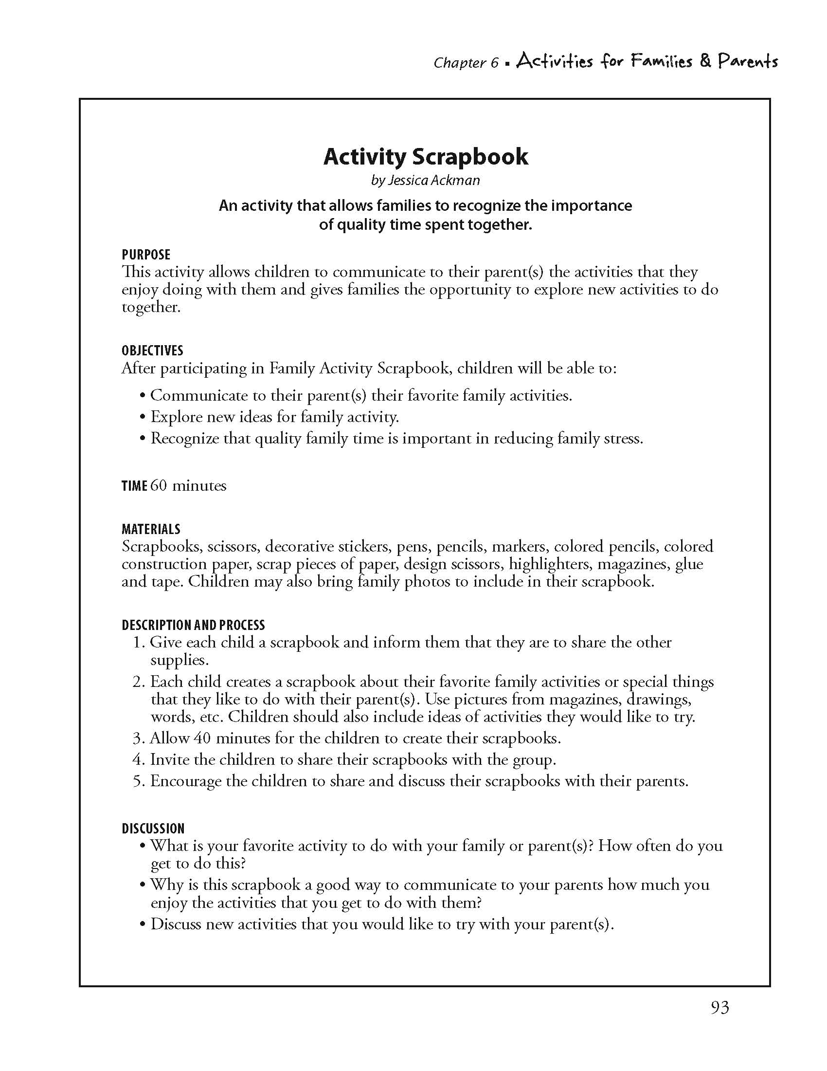Activity Scrapbook