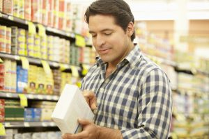Man reading food label