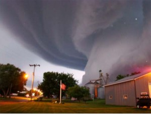 Tornado about to hit small town