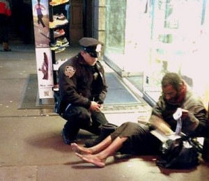 This Indianapolis officer bought new boots for a homeless man.