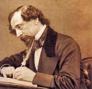 Charles Dickens at work.