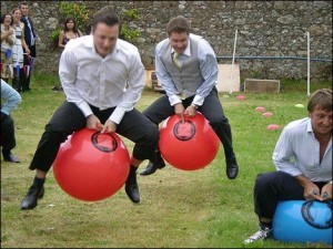 Adults on bouncy balls