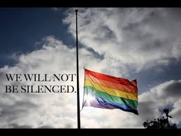 Rainbow flag at half mast