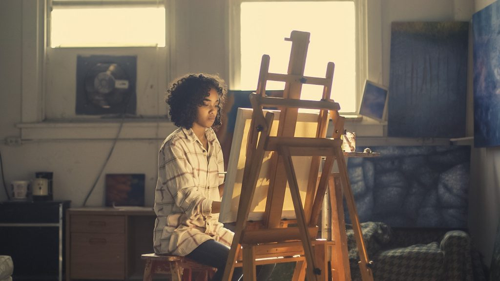 Woman Painting Focus Mindfulness